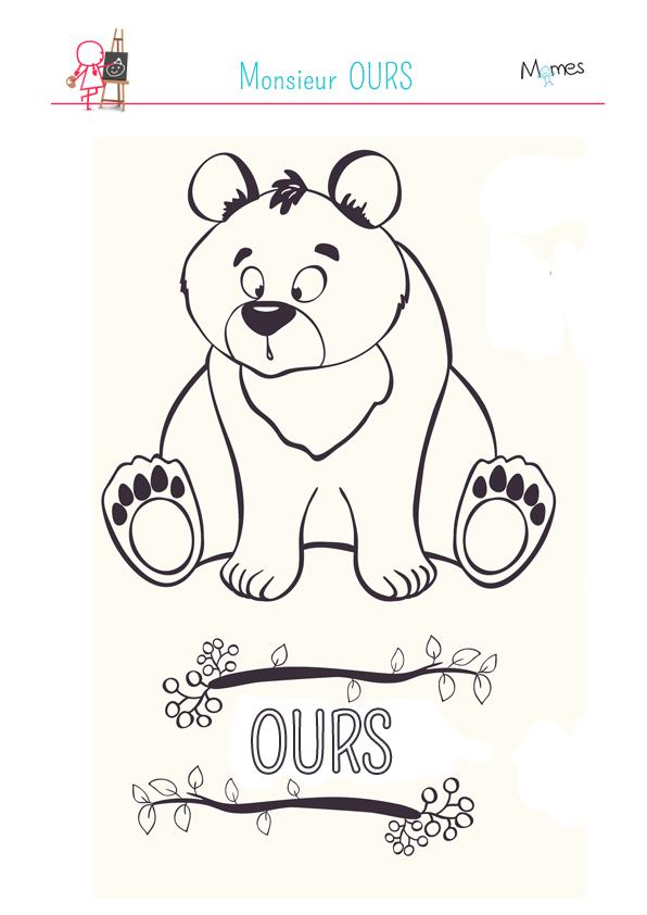 Coloriage monsieur ours - Coloriage de tous les animaux ...