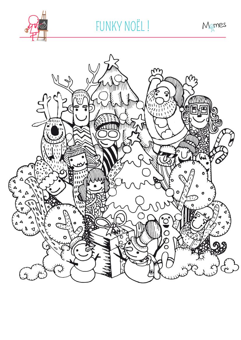 Coloriage Noël Funky - Momes.net