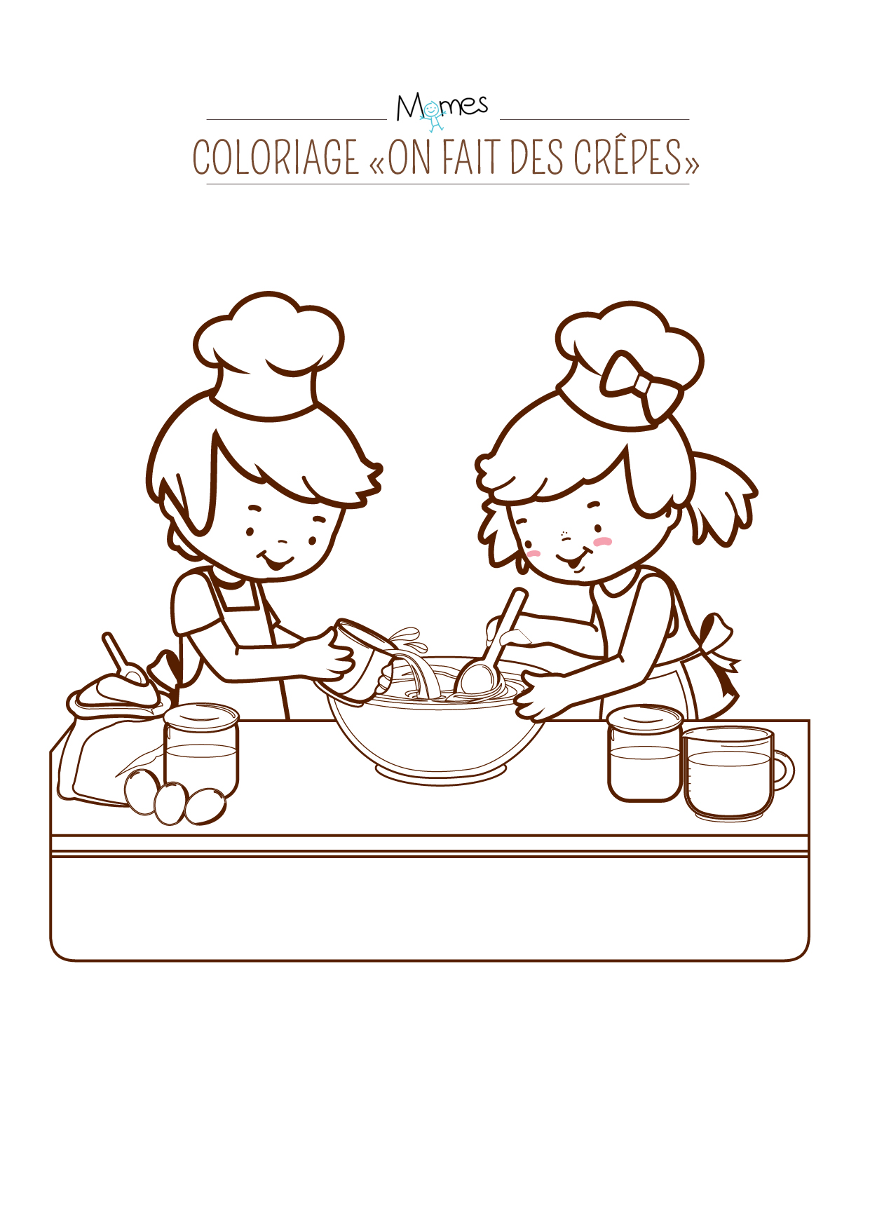 """Coloriage """"On fait des crêpes"""" ! - Momes.net"""