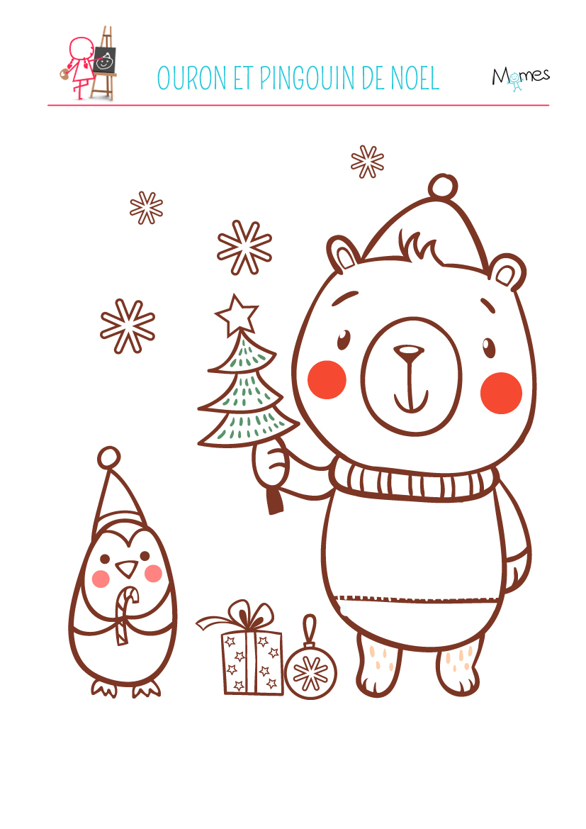 Coloriage ourson de Noël