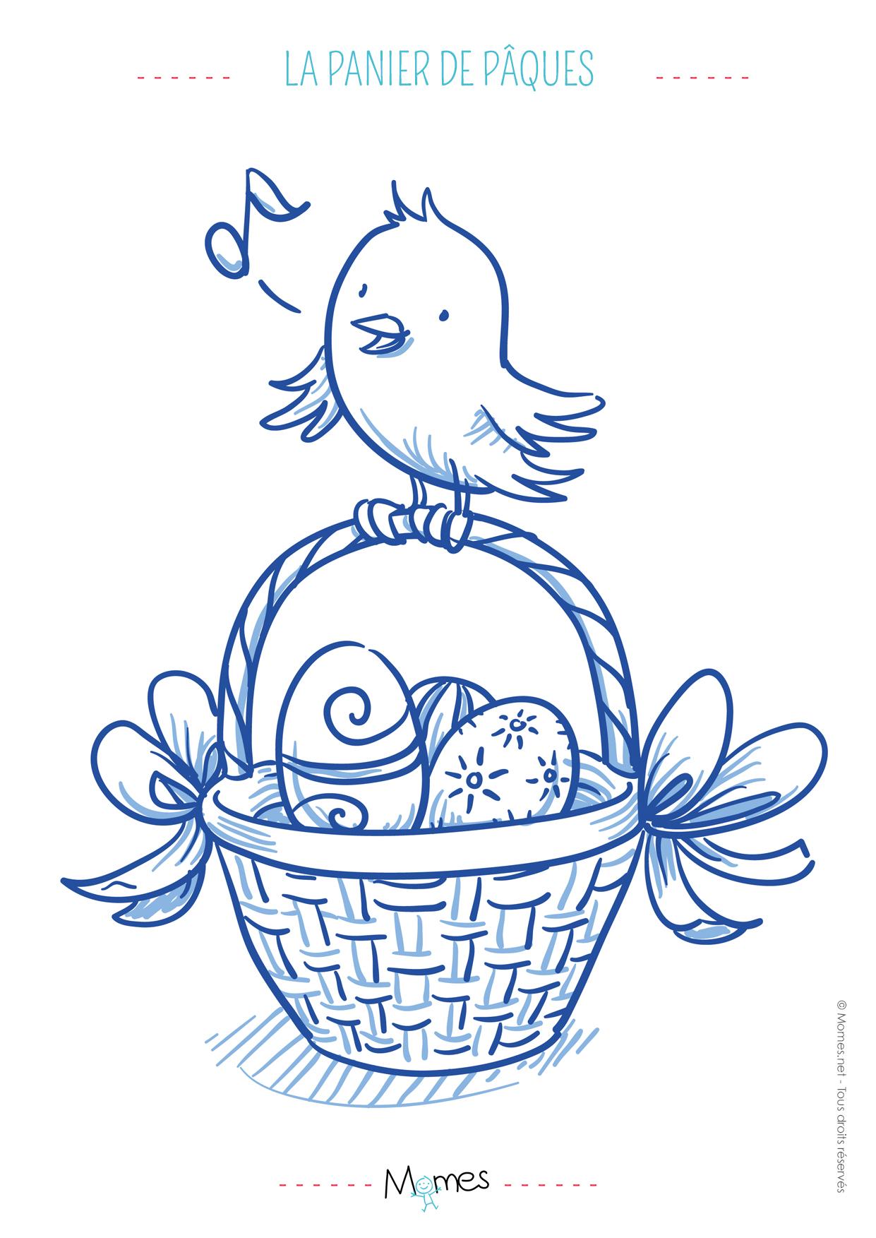 Coloriage panier de Pâques et poussin