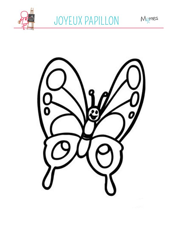 Coloriage papillon souriant