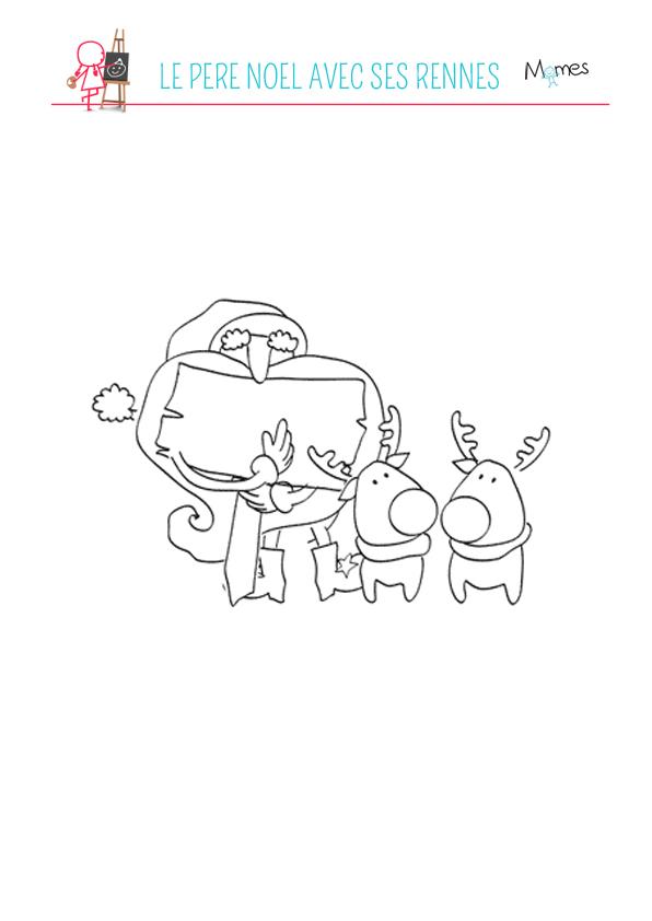 Coloriage Père Noël avec ses rennes