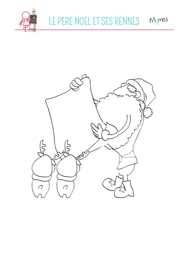 Coloriage Père Noël et ses rennes