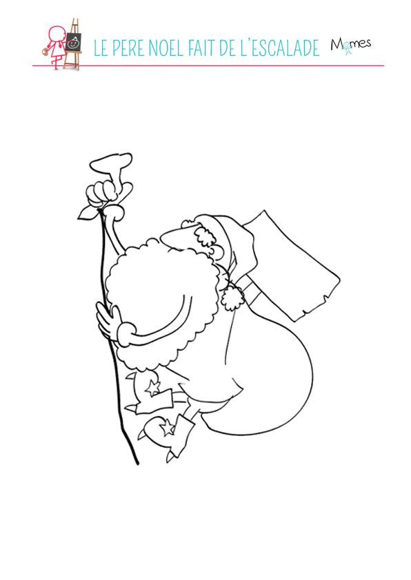 Coloriage Père Noël fait de l'escalade