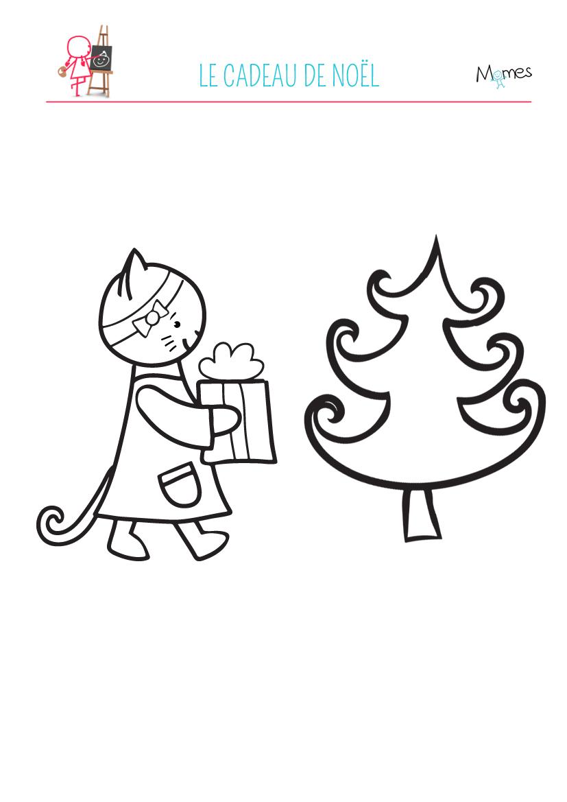 Coloriage Chat Noel.Coloriage Petit Chaton Et Le Cadeau De Noel Momes Net