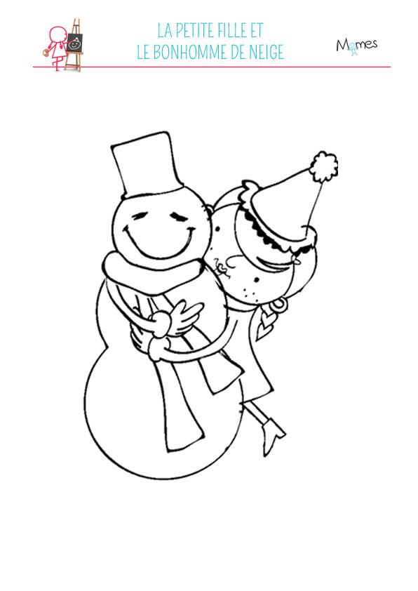 Coloriage petite fille et bonhomme de neige