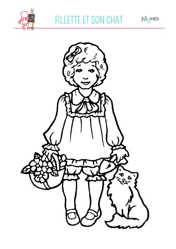 Coloriage petite fille et son chat