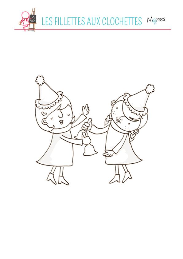 Coloriage petites filles avec des clochettes