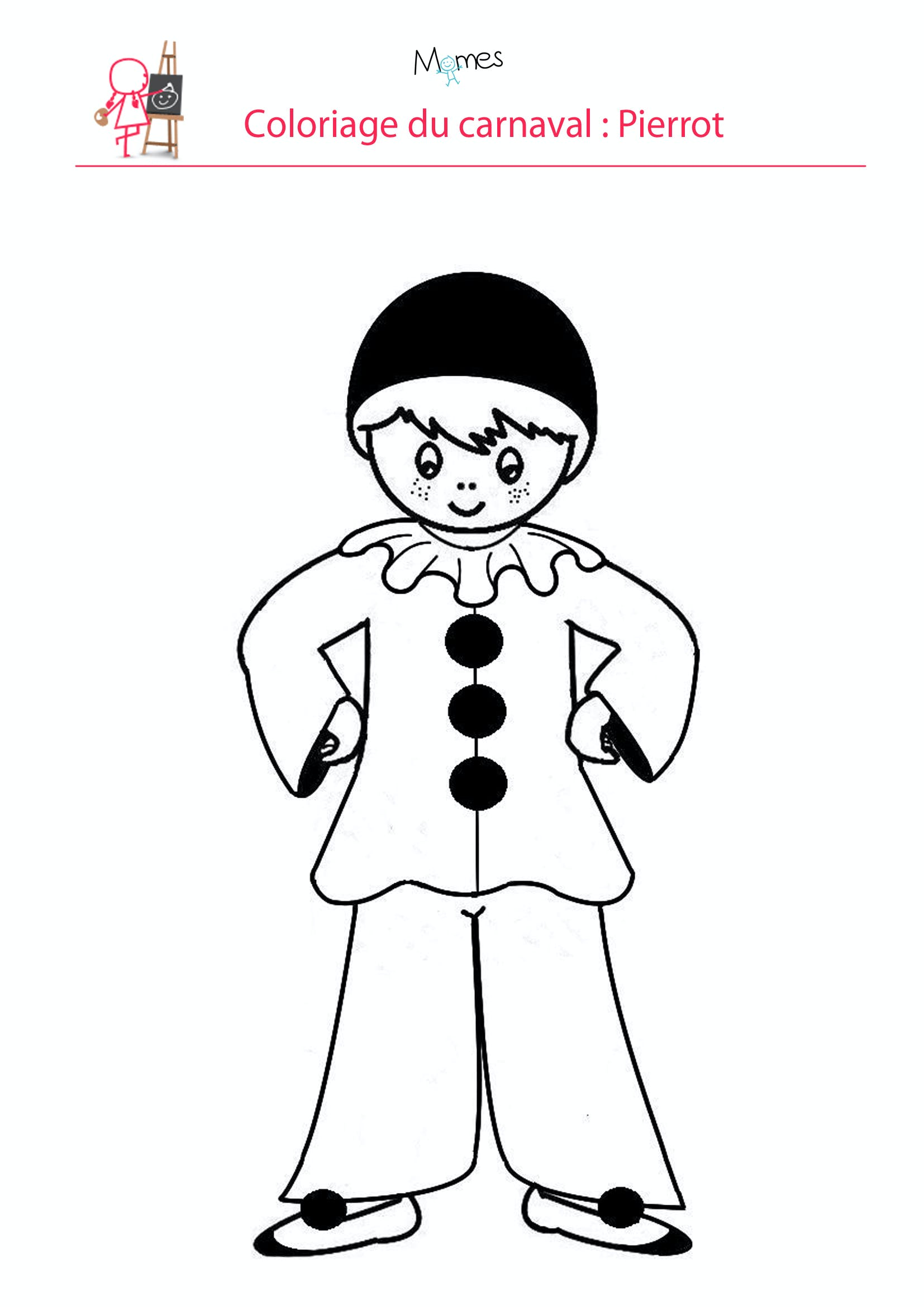 Coloriage pierrot - Dessin carnaval ...