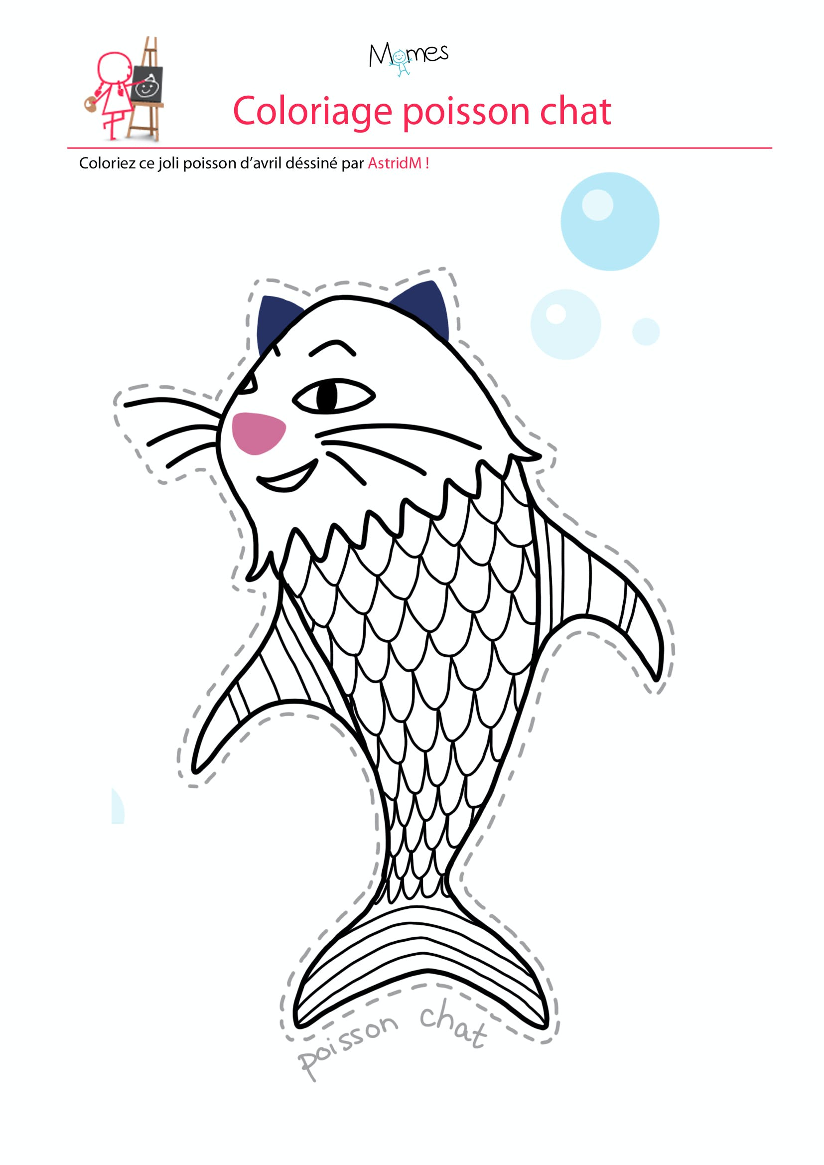 Coloriage poisson d 39 avril le poisson chat - Dessin poisson d avril rigolo ...