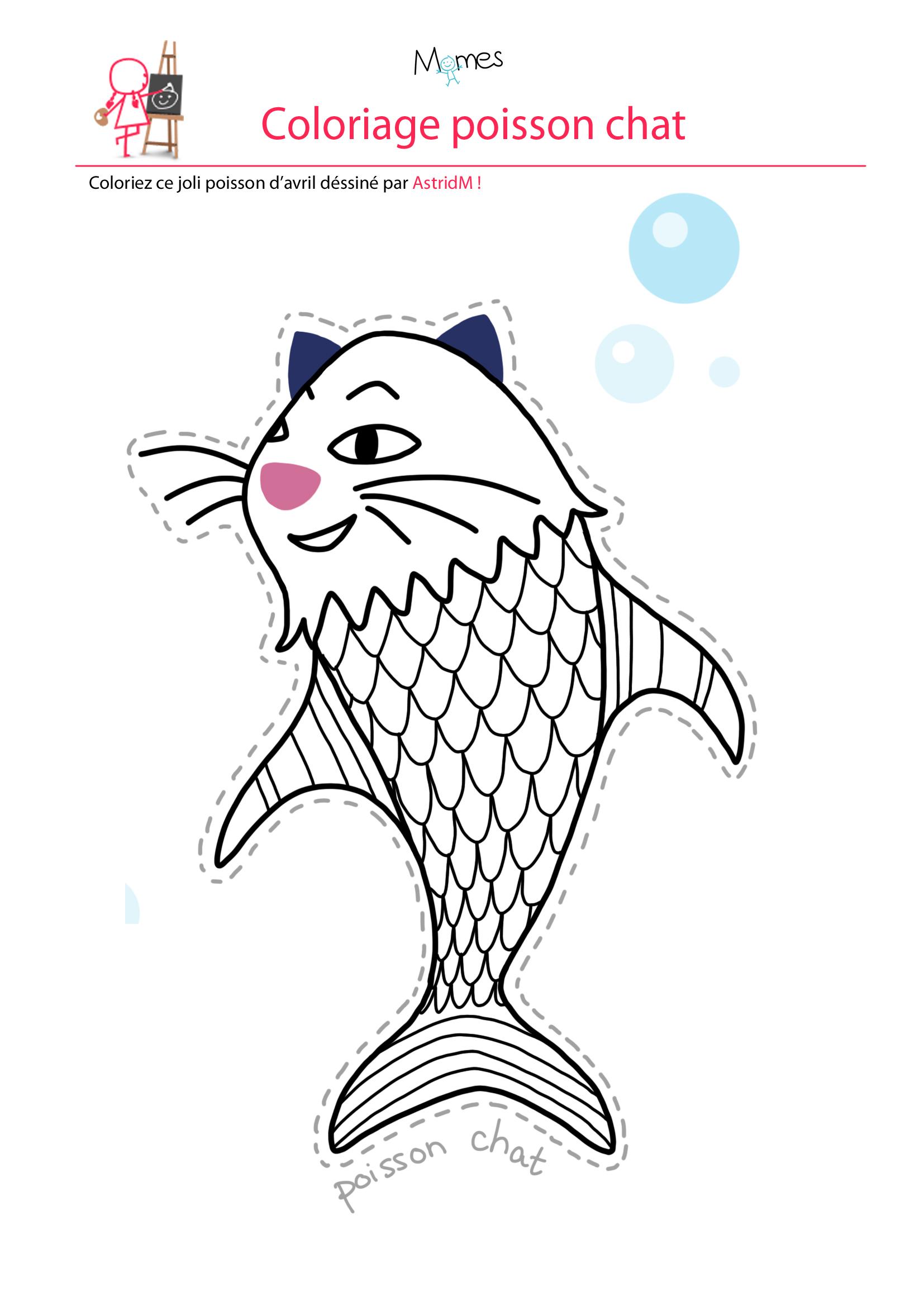 Coloriage poisson d'avril à imprimer : le poisson chat