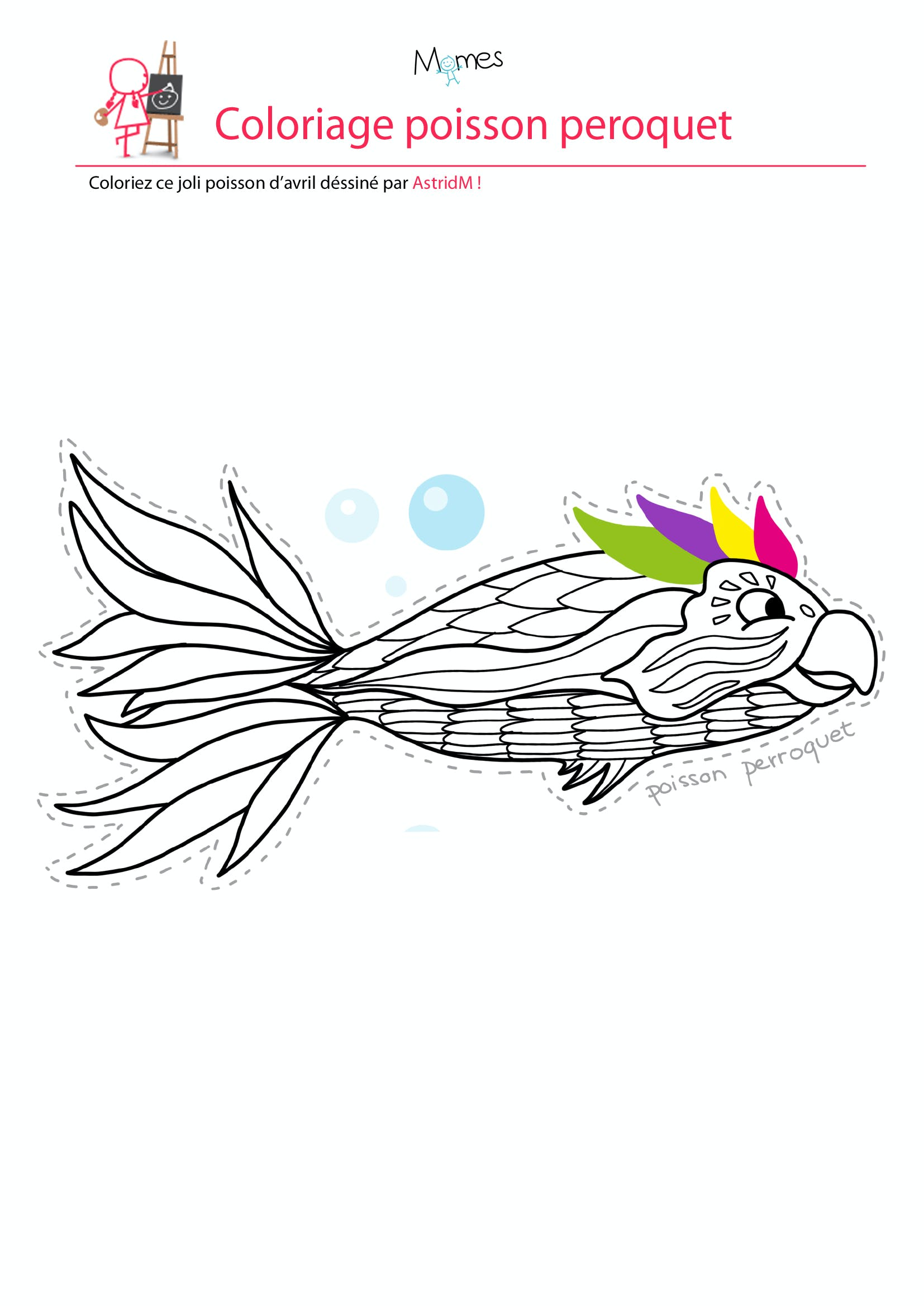 Coloriage poisson d'avril : le poisson perroquet