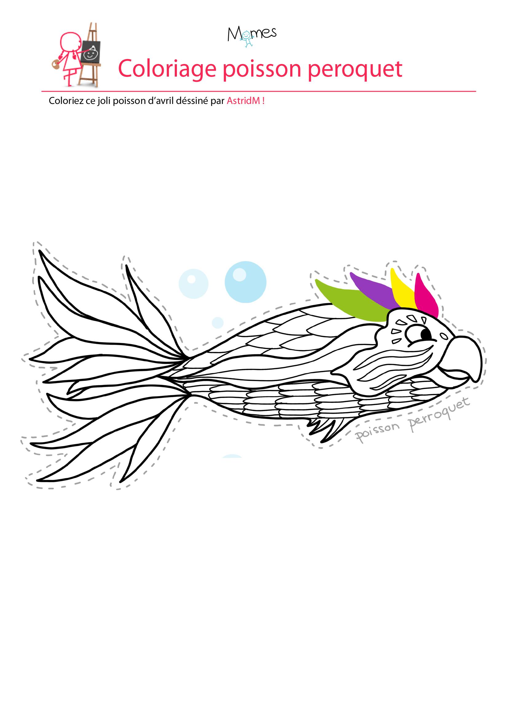 Coloriage poisson d'avril à imprimer le poisson perroquet