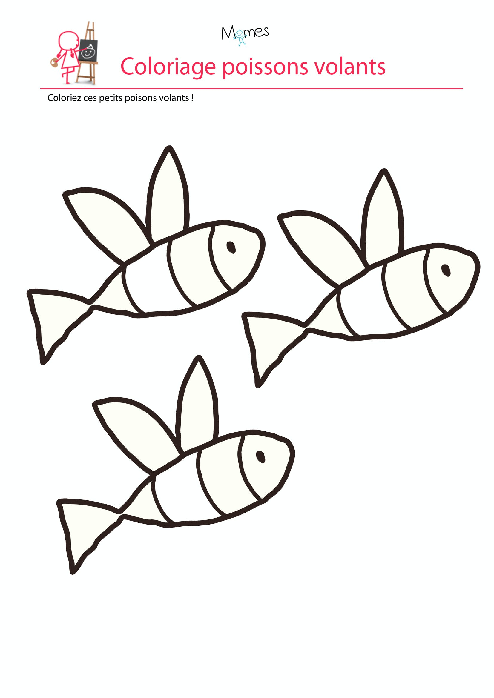Coloriage poisson d 39 avril les poissons volants - Coloriage avril ...