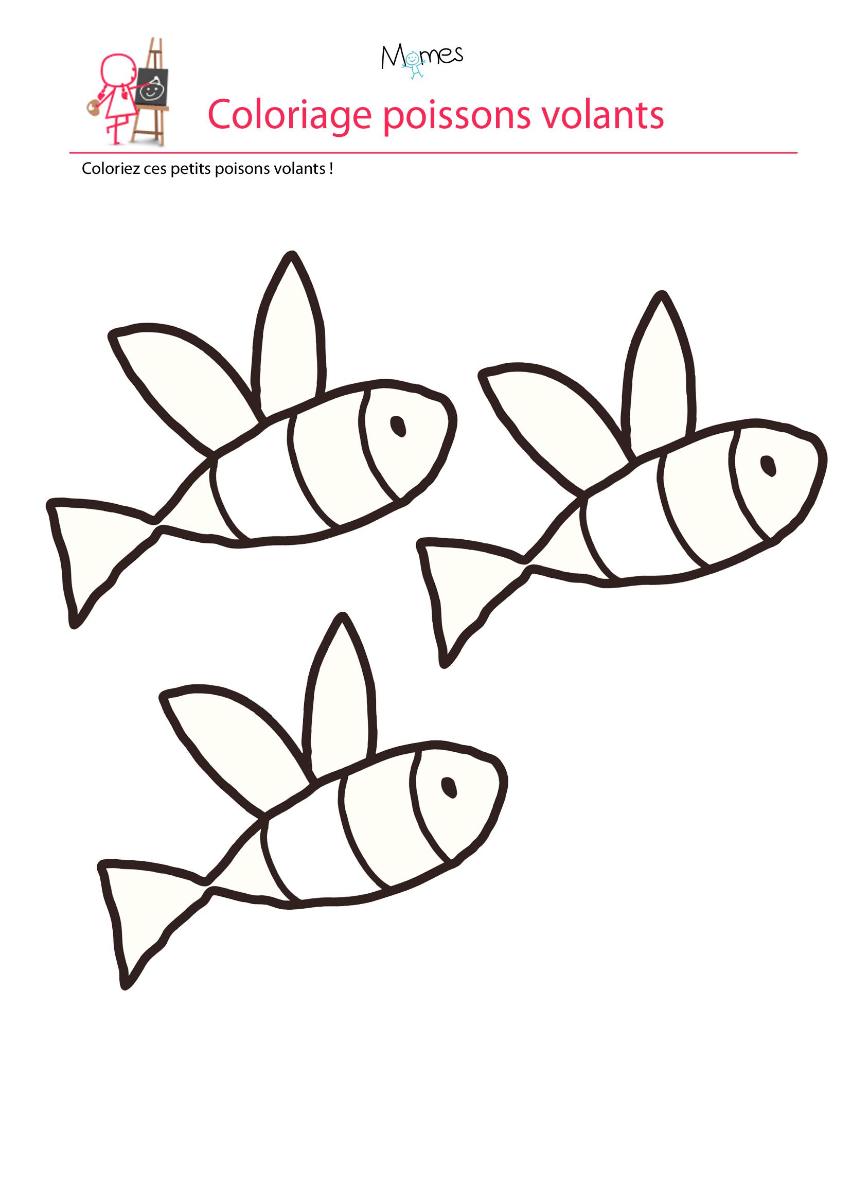 Coloriage poisson d'avril à imprimer les poissons volants