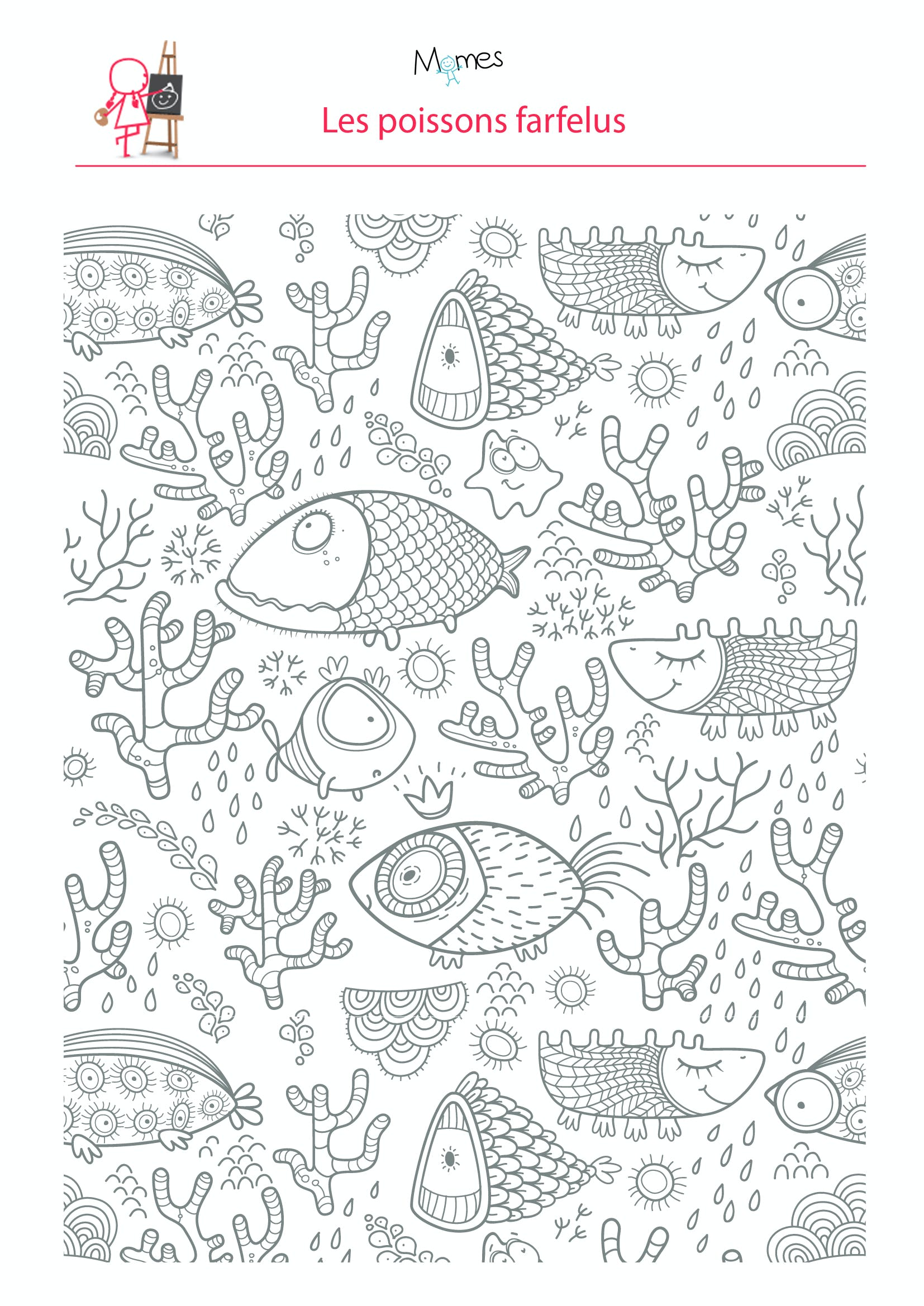 coloriage poissons dans l 39 eau. Black Bedroom Furniture Sets. Home Design Ideas
