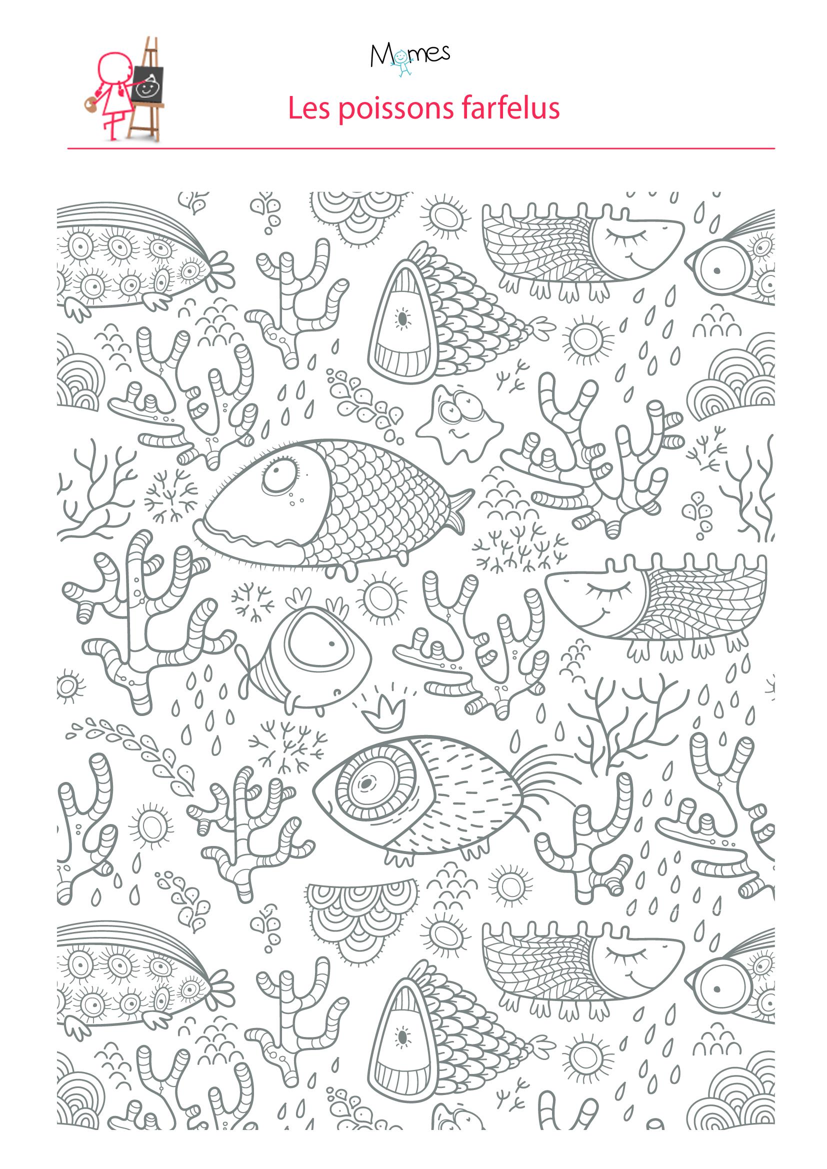 Coloriage poissons dans l'eau à imprimer
