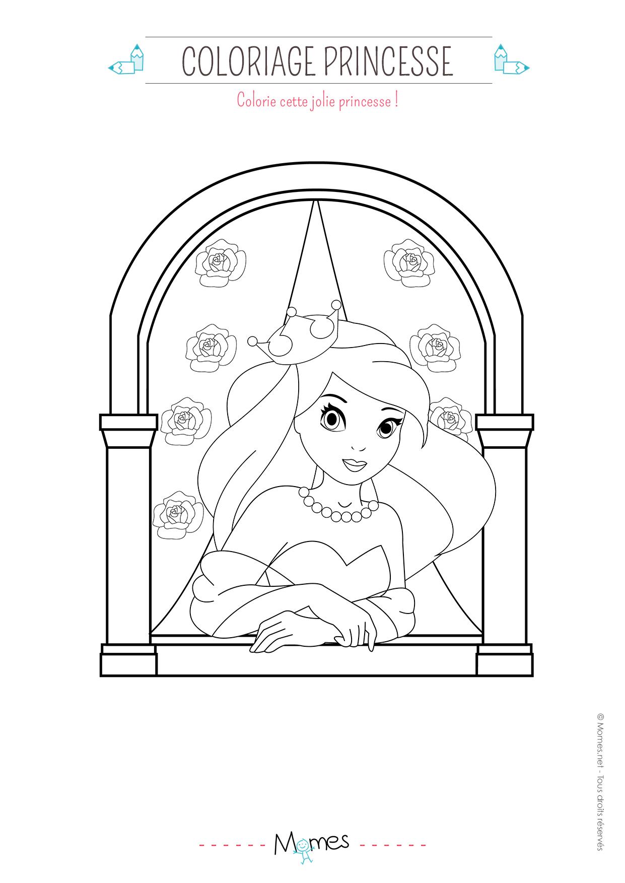 coloriage princesse fleurs