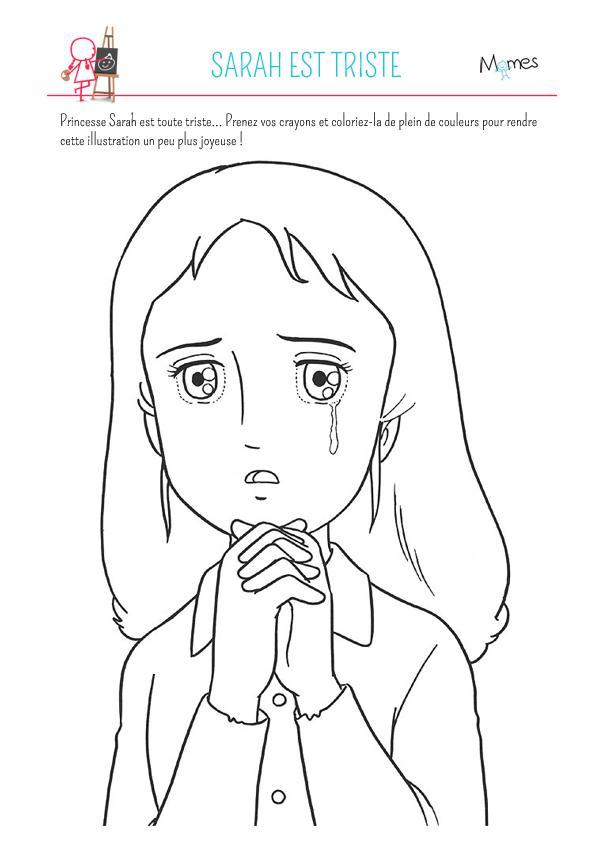 Coloriage Princesse Sarah est triste