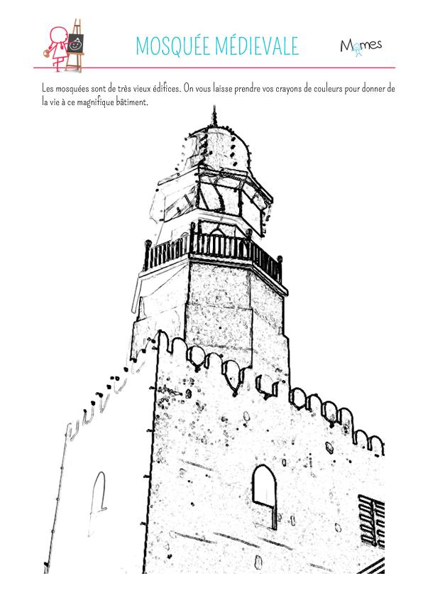 Coloriage Ramadan: mosquée médiévale