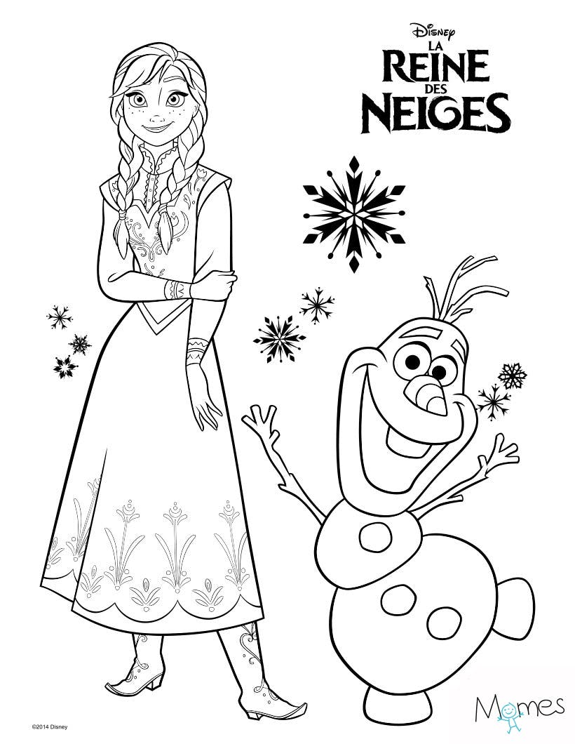 coloriage reine des neiges anna et olaf. Black Bedroom Furniture Sets. Home Design Ideas