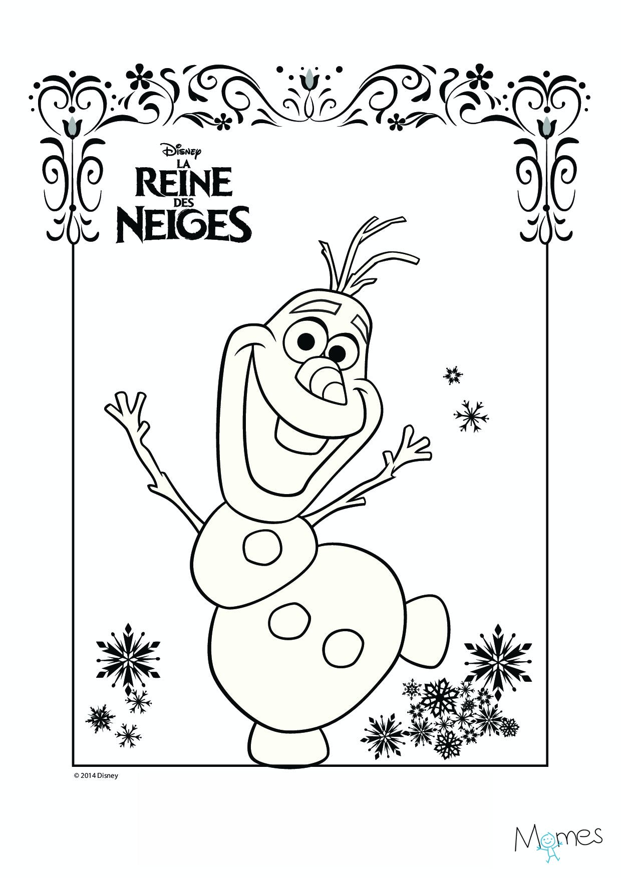 Coloriages La Reine des Neiges - Coloriage Princesse - Momes.net