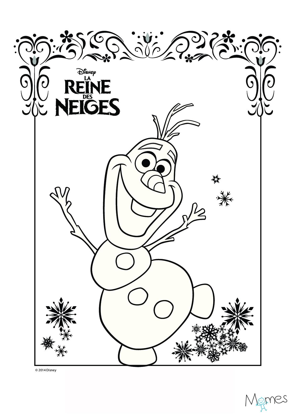 Coloriage reine des neiges olaf - Dessin de neige ...