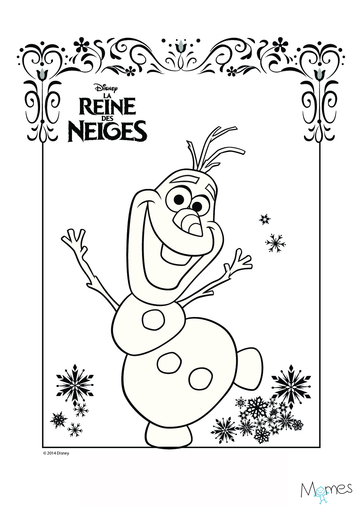 Coloriage Reine des Neiges : Olaf