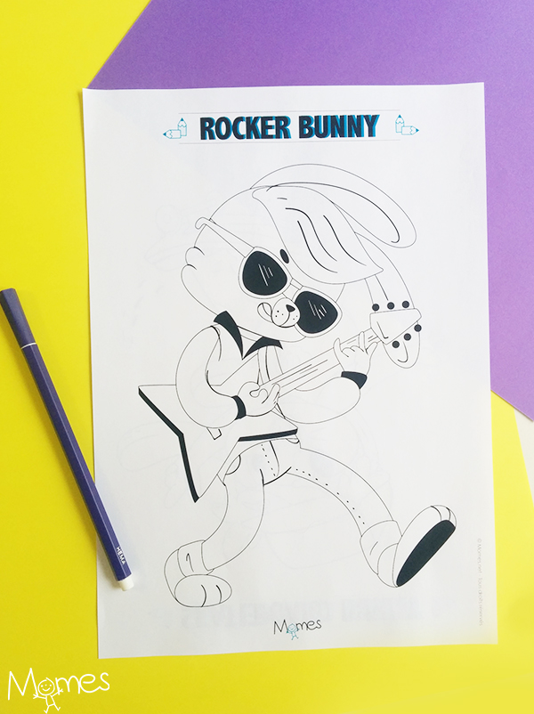 Coloriage Rock'n'roll Bunny