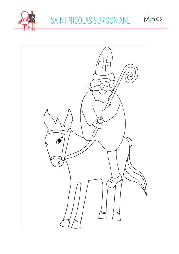 Coloriage saint nicolas et son ne - Dessin de saint ...