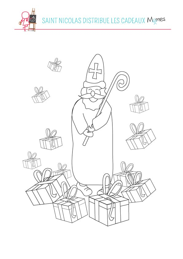 Coloriage Saint Nicolas souriant