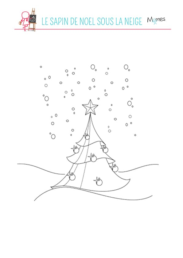 Coloriage Le sapin de Noël sous la neige