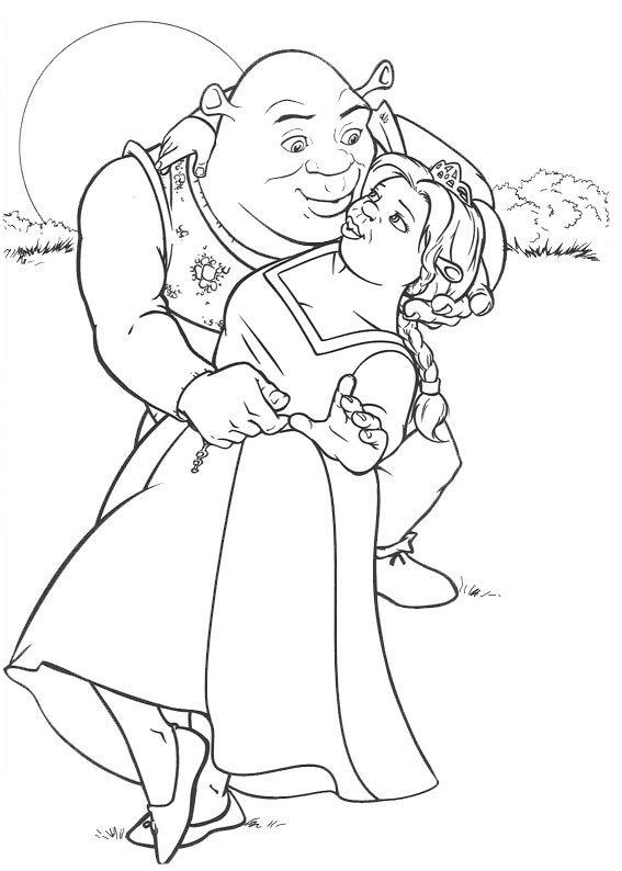 Coloriage Shrek Amoureux
