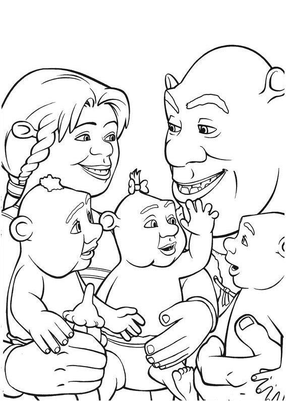 Coloriage Shrek la famille de