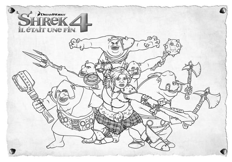 Coloriage Shrek: Les guerriers