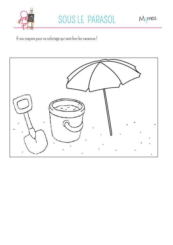 Coloriage sous le parasol - Dessin parasol ...