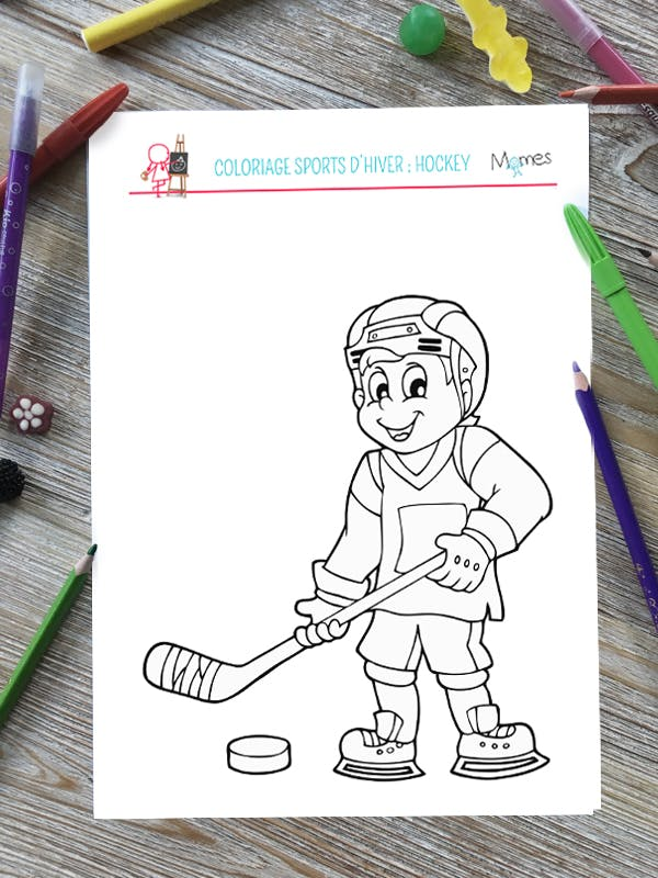 Coloriage Sports d'hiver : le Hockey