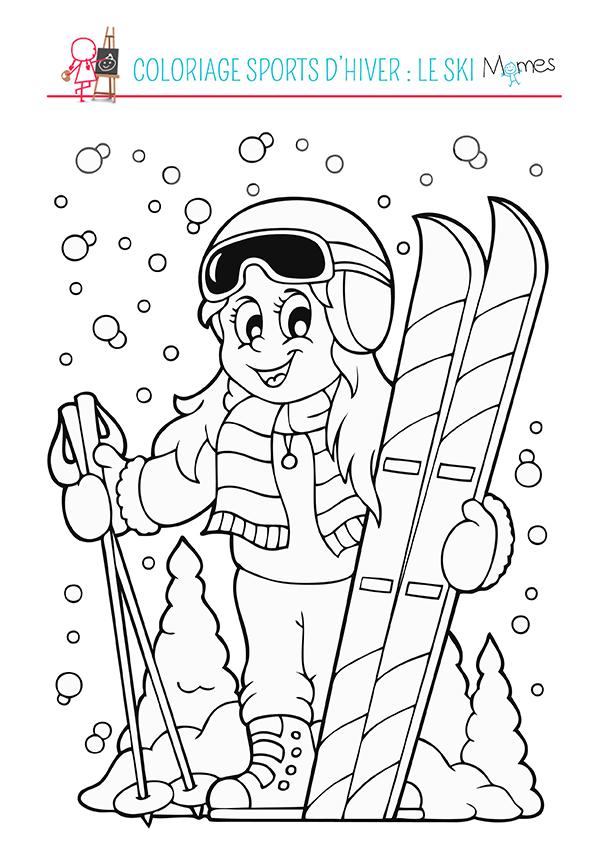 Coloriage sports d 39 hiver le ski - Dessin sur l hiver ...