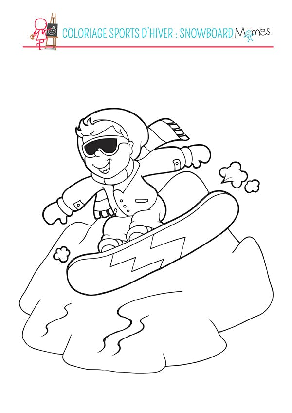 Coloriage Sports d'hiver : le Snowboard