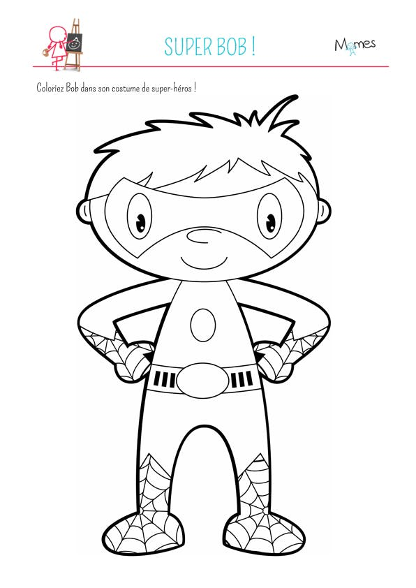 Coloriage super bob - Super hero dessin ...