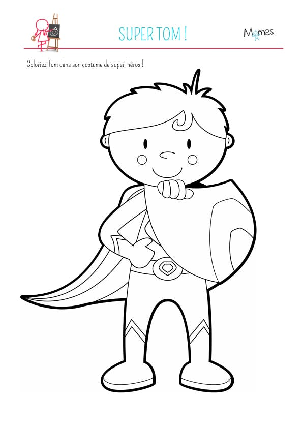 Coloriage super tom - Dessin de heros ...