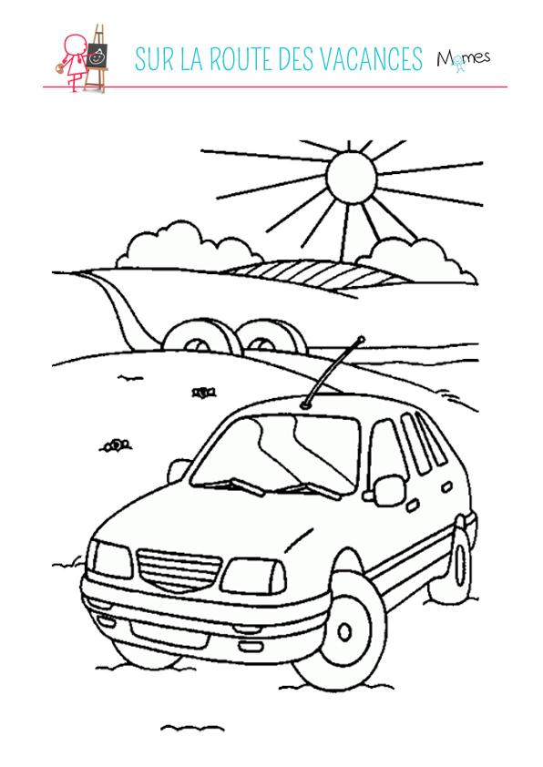 Coloriage sur la route des vacances
