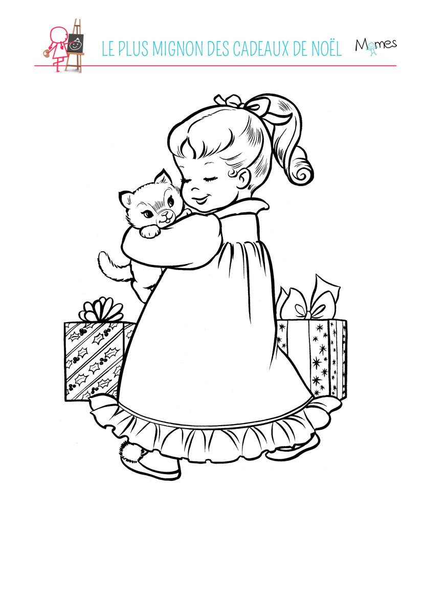Coloriage un chaton no l - Coloriage petit sapin ...