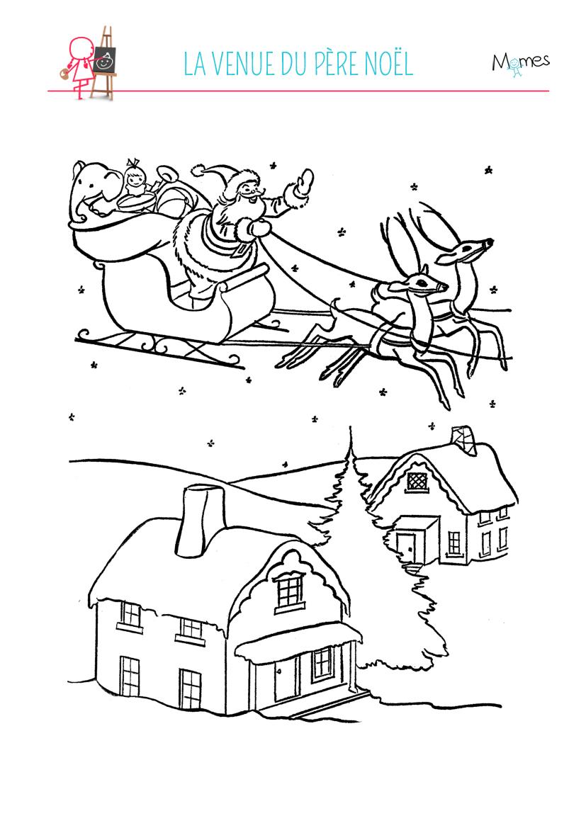 Coloriage à imprimer village de Noël
