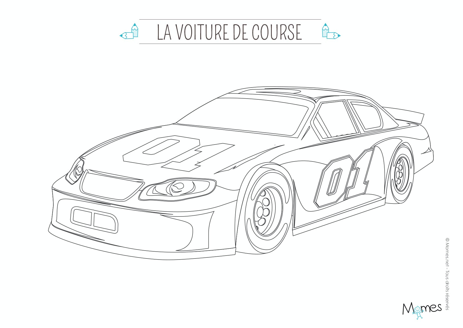Coloriage la voiture de course - Dessin de voiture simple ...