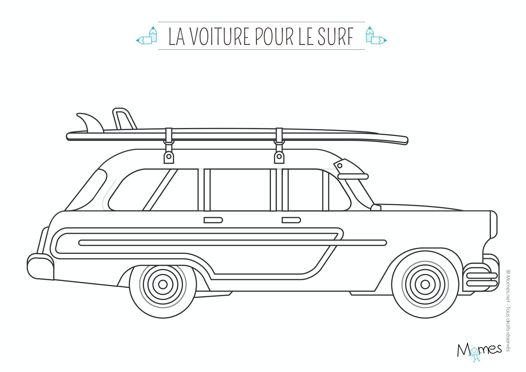 coloriage la voiture de surfeur. Black Bedroom Furniture Sets. Home Design Ideas