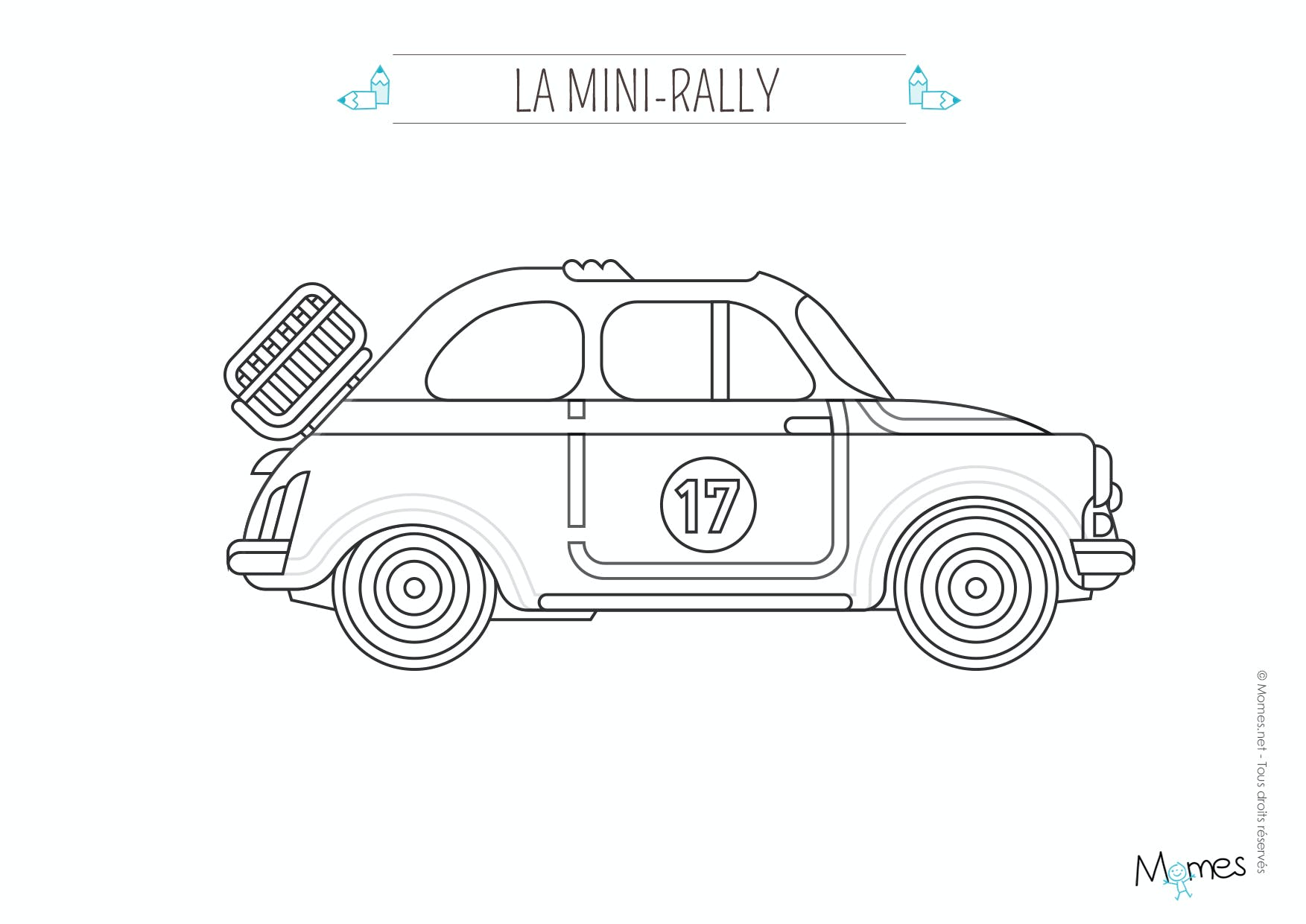 coloriage la voiture de rallye. Black Bedroom Furniture Sets. Home Design Ideas