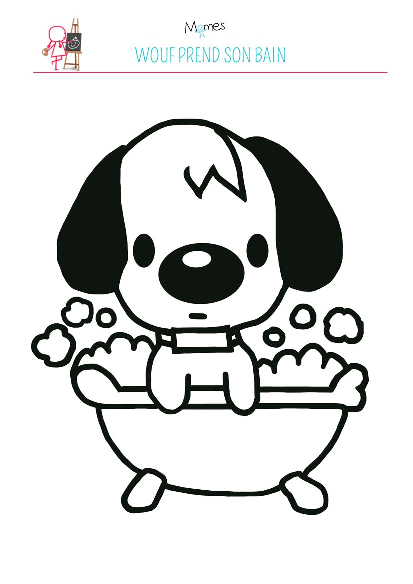 Coloriage wouf prend son bain - Dessin de petit chien ...