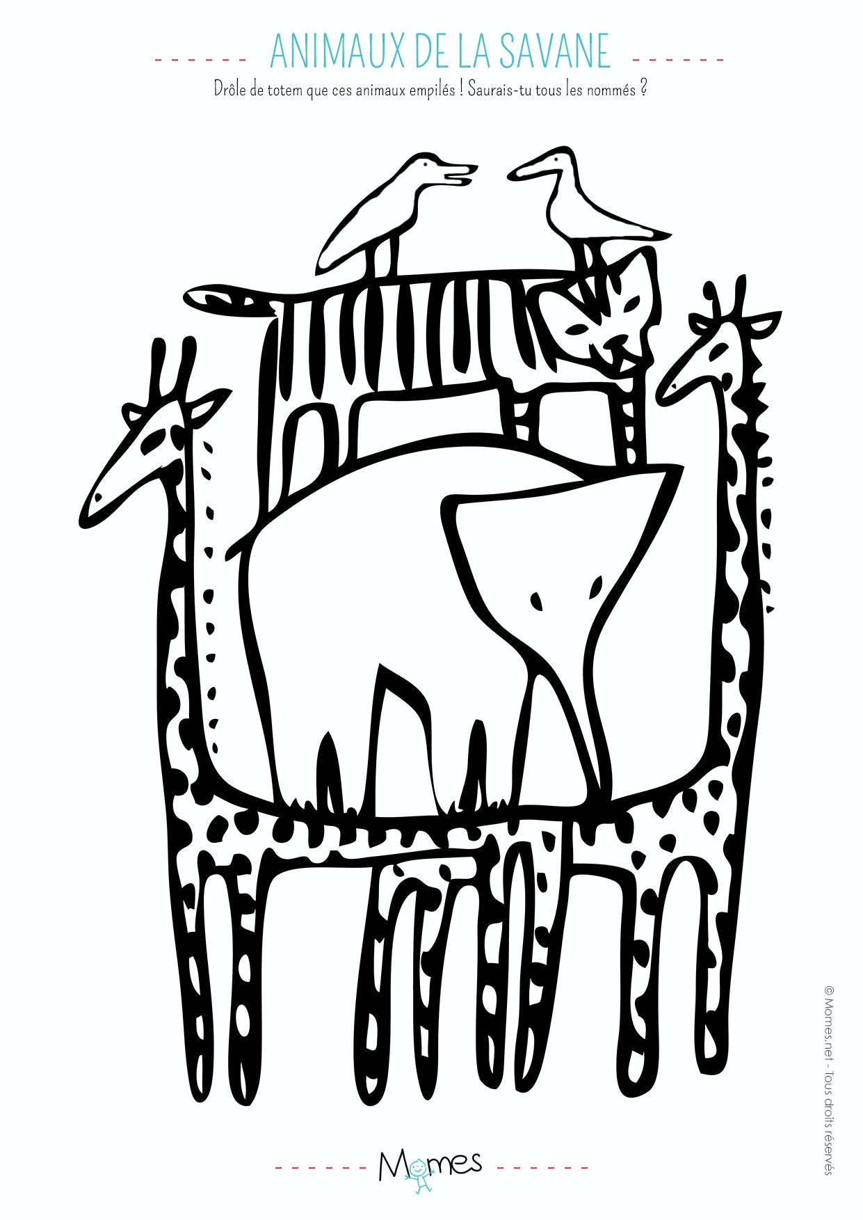 Coloriages animaux de la savane - Coloriage masque pingouin ...